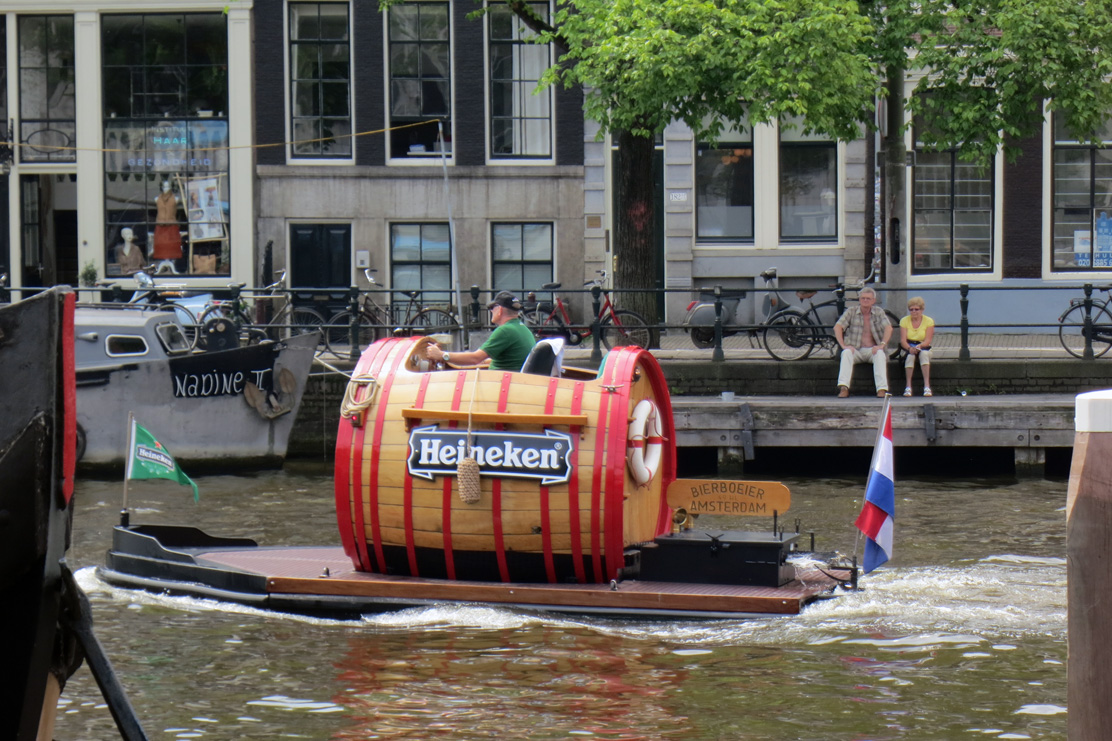 Beer boat cruising channels Amsterdam